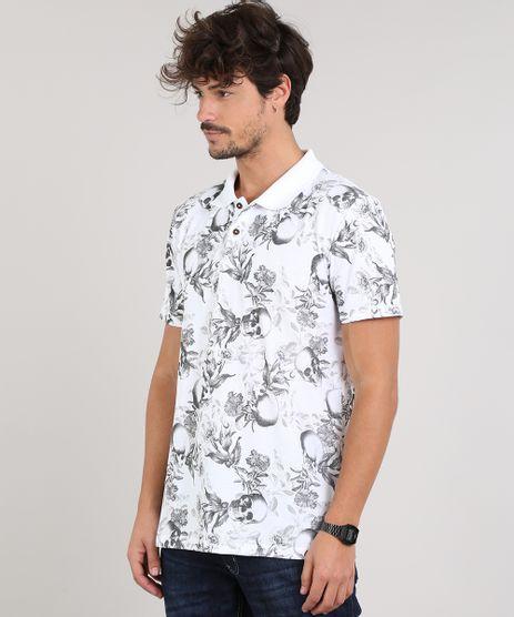 Polo-Masculina-Estampado-Floral-e-Caveiras-em-Piquet-Manga-Curta-Branca-9670516-Branco_1