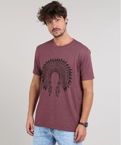 Camiseta-Masculina-Cocar-Manga-Curta-Gola-Careca-Vinho-9609304-Vinho_1