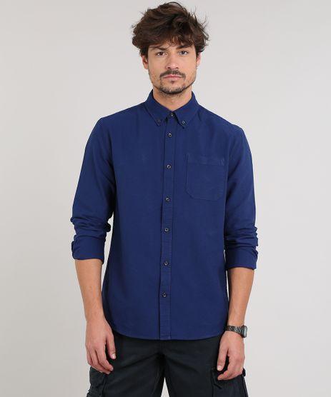 Camisa-Masculina-Com-Bolso-Manga-Longa--Azul-Escuro-9082965-Azul_Escuro_1