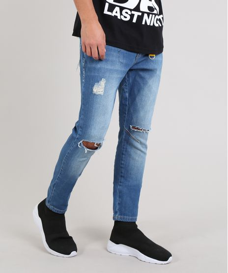 Calca-Jeans-Masculina-Carrot-Destroyed-com-Chaveiro-Azul-Medio-9620535-Azul_Medio_1