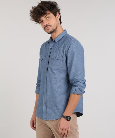 Camisa-Jeans-Masculina-Com-Bolsos-Manga-Longa--Azul-Medio-9527327-Azul_Medio_1