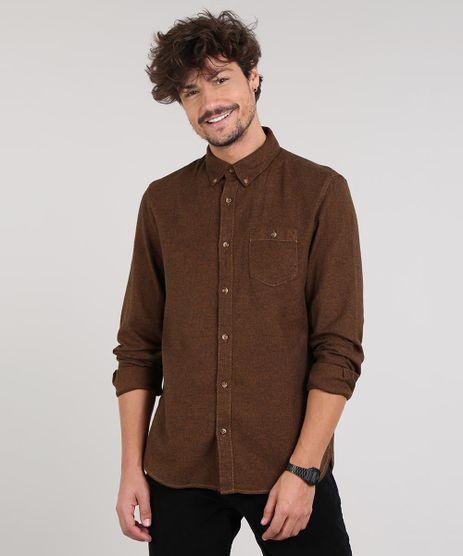 Camisa-Masculina-Com-Bolso-Manga-Longa--Marrom-Escuro-9514522-Marrom_Escuro_1