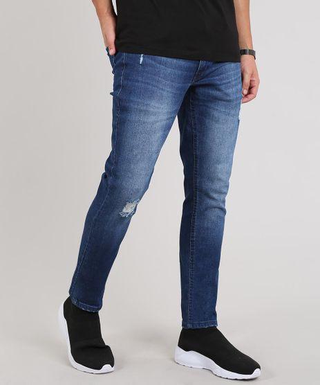 Calca-Jeans-Masculina-Skinny-com-Puidos-Azul-Escuro-9643062-Azul_Escuro_1