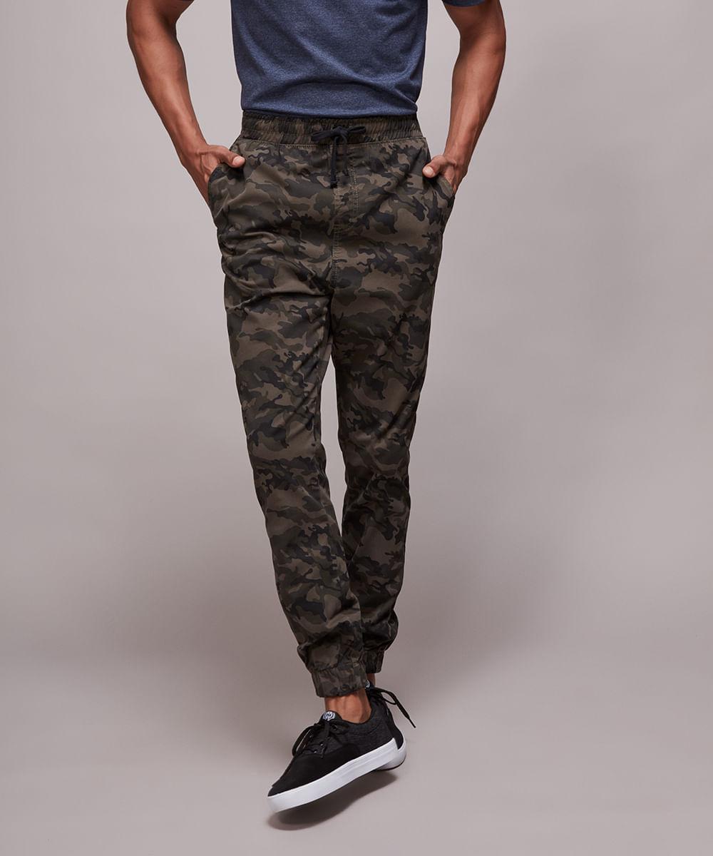 Calça de Sarja Masculina Tal Pai Tal Filho Jogger Skinny Estampada Camuflada Verde Militar