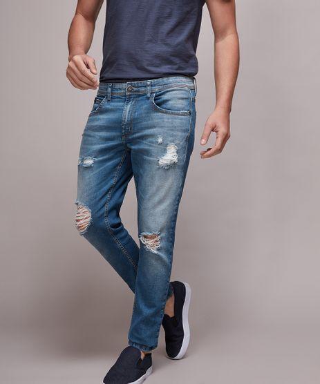 Calca-Jeans-Masculina-Skinny-Destroyed-Azul-Medio-9633226-Azul_Medio_1