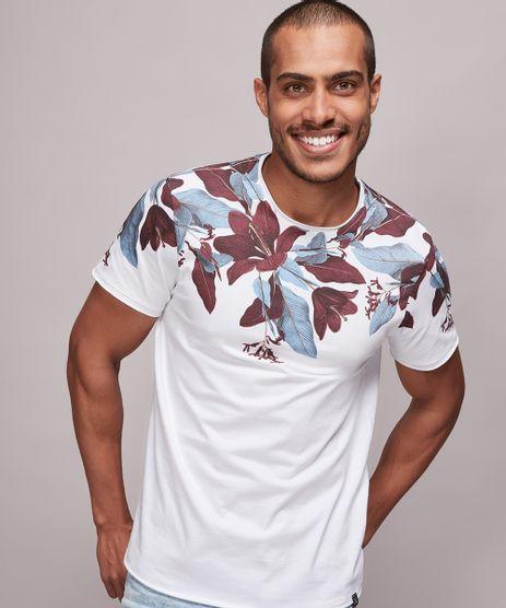 Camiseta-Masculina-Slim-Fit-com-Estampa-Floral-Manga-Curta-Gola-Careca-Branca-9603050-Branco_1