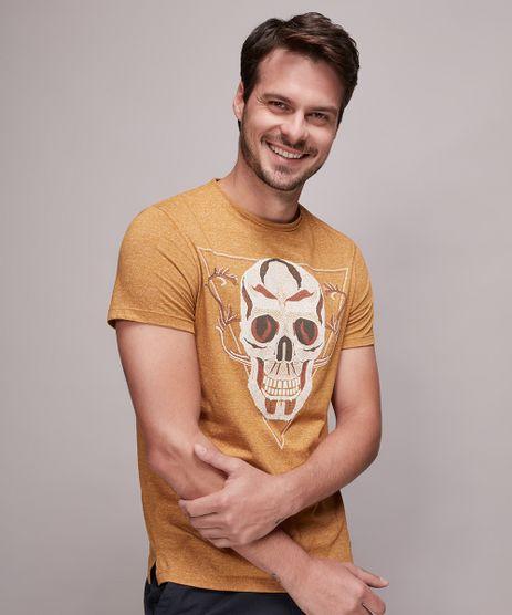 Camiseta-Masculina-Slim-Fit-com-Estampa-de-Caveira-Manga-Curta-Gola-Careca-Mostarda-9603042-Mostarda_1