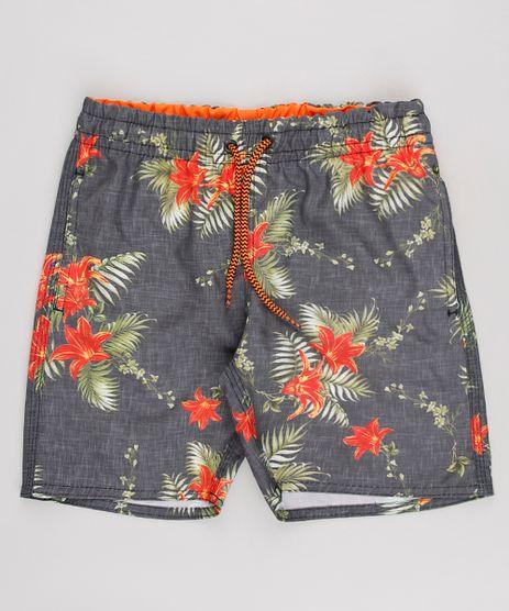 Bermuda-Surf-Infantil-Estampada-Floral-Cinza-9654058-Cinza_1