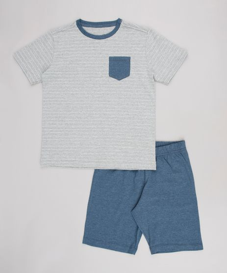 Pijama-Infantil-Tal-Pai-Tal-Filho-Listrado-com-Bolso-Manga-Curta-Cinza-Mescla-9634282-Cinza_Mescla_1