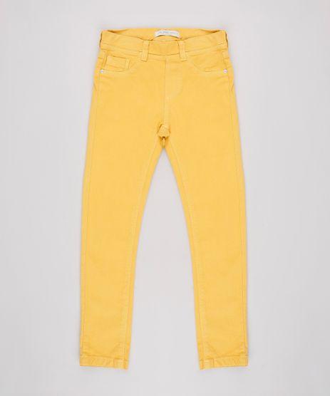 Calca-de-Sarja-Infantil-Skinny-com-Bolsos-Amarelo-9639052-Amarelo_1