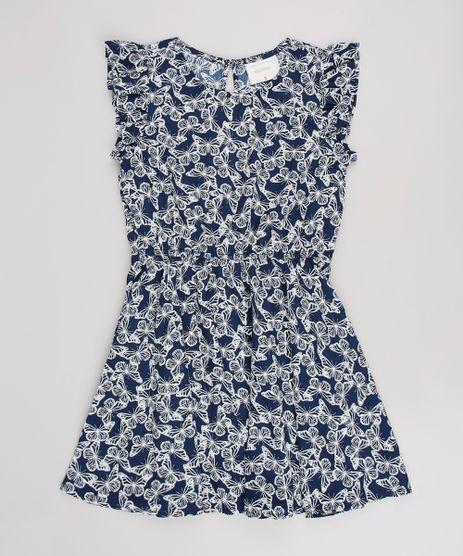 Vestido-Infantil-Estampado-de-Borboletas-Manga-Curta--Azul-Marinho-9514706-Azul_Marinho_1