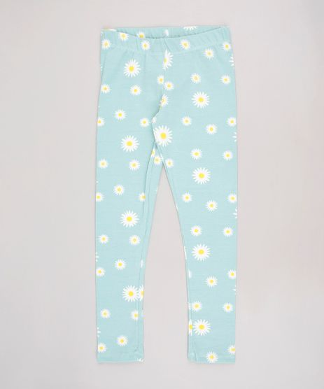 Calca-Legging-Infantil-Estampada-de-Margaridas--Verde-Claro-9610886-Verde_Claro_1