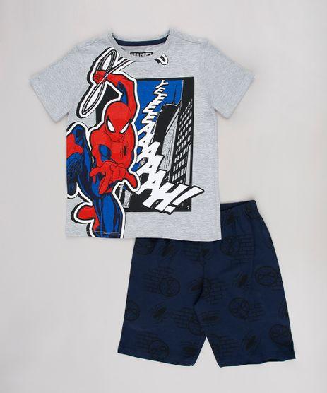 Pijama-Infantil-Homem-Aranha-Manga-Curta-Cinza-9629802-Cinza_1