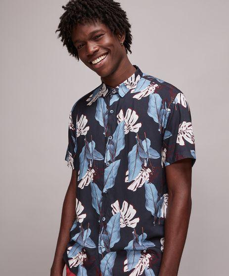 Camisa-Masculina-Estampada-de-Folhagem-Manga-Curta-Azul-Marinho-9593483-Azul_Marinho_1