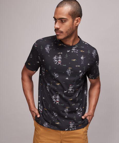 Camiseta-Masculina-Estampada-de-Caveira-Manga-Curta-Gola-Careca-Preta-9676755-Preto_1