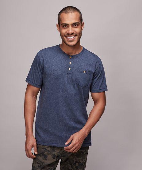 Camiseta-Masculina-com-Bolso-e-Botoes-Manga-Curta-Gola-Careca-Azul-9605036-Azul_1