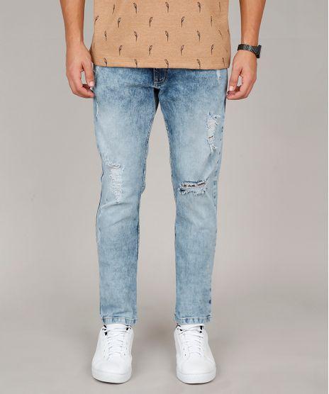 Calca-Jeans-Masculina-Slim-com-Rasgos-Azul-Medio-9607724-Azul_Medio_1