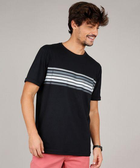 Camiseta-Masculina-com-Listras-Manga-Curta-Gola-Careca-Preta-9596742-Preto_1
