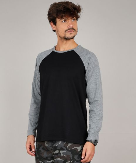 Camiseta-Masculina-Basica-Manga-Longa-Raglan-Gola-Careca-Preta-9556142-Preto_1