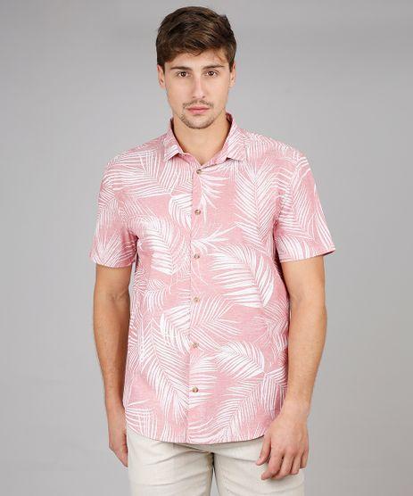 Camisa-Masculina-Relaxed-Estampada-de-Folhagem-Manga-Curta-Vermelho-Claro-9532373-Vermelho_Claro_1
