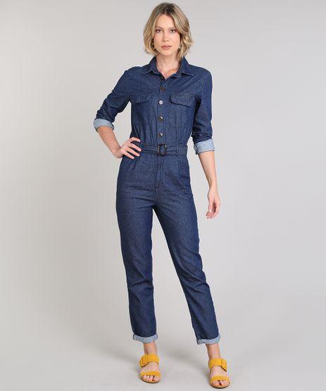 Macacao-Jeans-Feminino-com-Bolsos-e-Cinto-Manga-Longa-Azul-Escuro-9666369-Azul_Escuro_1