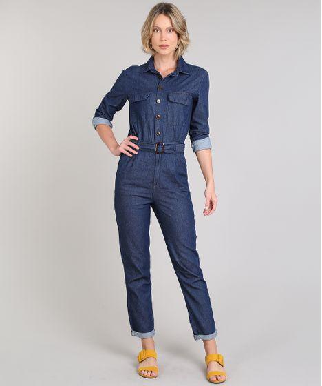 fa93459b5 Macacão Jeans Feminino com Bolsos e Cinto Manga Longa Azul Escuro - cea