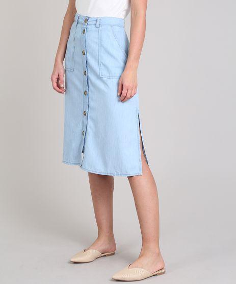 Saia-Jeans-Feminina-Midi-com-Botoes-e-Fendas-Azul-Claro-9594616-Azul_Claro_1