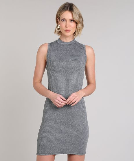 Vestido-Feminino-Curto-Canelado-Sem-Manga-Cinza-Mescla-Escuro-9626630-Cinza_Mescla_Escuro_1