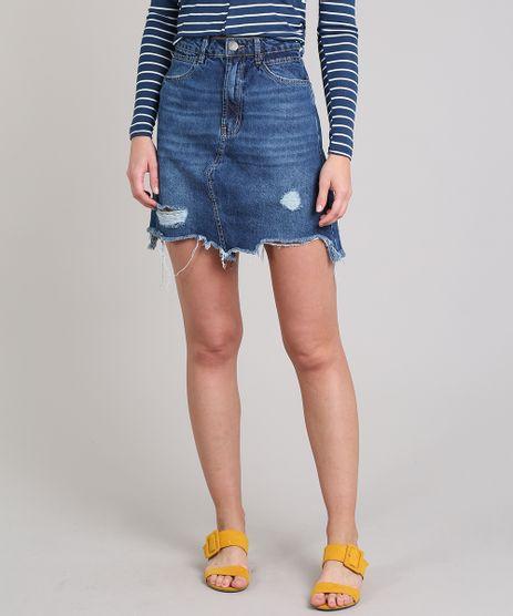 Saia-Jeans-Feminina-Curta-Destroyed-Azul-Medio-9666387-Azul_Medio_1