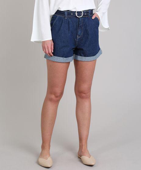 Short-Jeans-Feminino-Clochard-com-Barra-Dobrada-e-Cinto--Azul-Escuro-9664031-Azul_Escuro_1