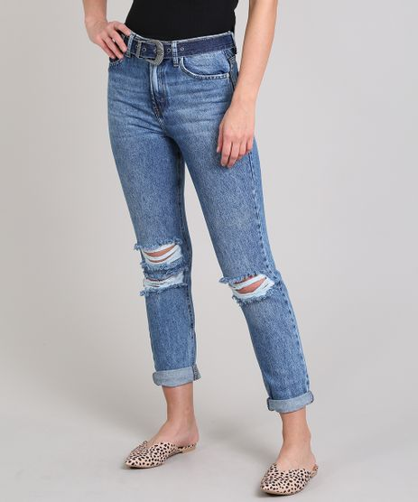 Calca-Jeans-Feminina-Mom-com-Rasgos-e-Cinto-Azul-Escuro-9666356-Azul_Escuro_1