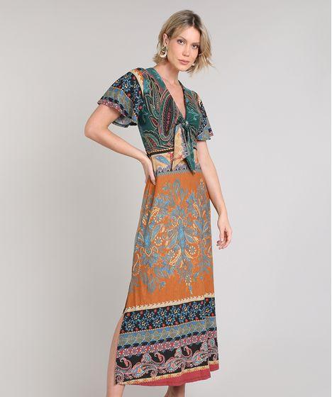 10812353fd44 Vestido Feminino Midi Estampado Paisley com Nó Manga Curta Caramelo ...
