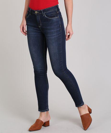Calca-Jeans-Feminina-Skinny-com-Barra-Desfiada-Azul-Escuro-9666379-Azul_Escuro_1