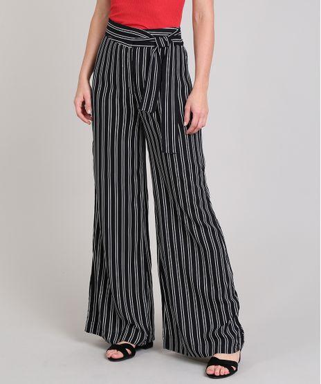 Calca-Feminina-Pantalona-Listrada-com-Amarracao-Preta-9535714-Preto_1