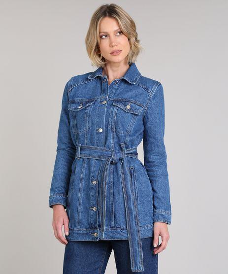 Jaqueta-Jeans-Feminina-Alongada-Com-Cinto-Azul-Medio-9666368-Azul_Medio_1