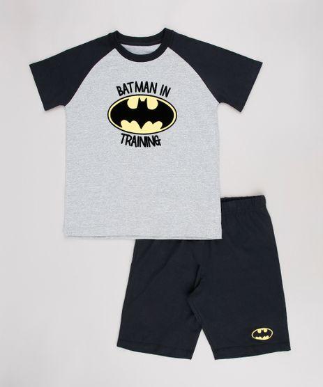 Pijama-Infantil-Tal-pai-Tal-Filho-Batman-Raglan-Manga-Curta-Cinza-Mescla-9634294-Cinza_Mescla_1