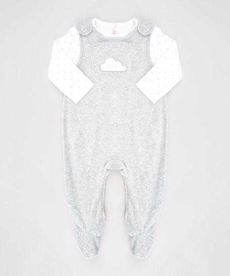 Conjunto-Infantil-de-Camiseta-Estampada-de-Poa-Manga-Longa-Off-White---Macacao-Nuvem-em-Plush-Sem-Manga-Cinza-Mescla-9451019-Cinza_Mescla_1