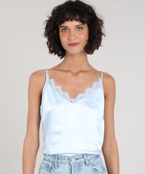 Regata-Slip-Top-Feminina-Mindset-Acetinada-com-Renda-Decote-V-Azul-Claro-9602450-Azul_Claro_1