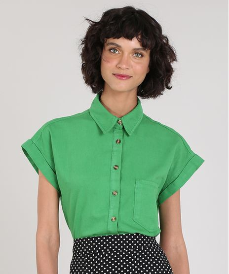 Camisa-Feminina-Mindset-com-Bolso-Manga-Curta-Verde-9690438-Verde_1