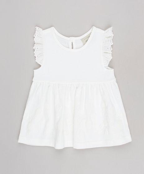 Vestido-Infantil-Floral-com-Babado-em-Laise-Sem-Manga--Off-White-9623063-Off_White_1