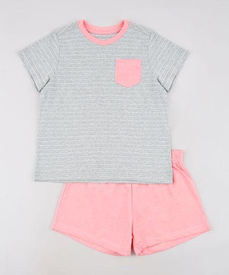 Pijama-Infantil-Tal-Pai-Tal-Filha-Listrado-com-Bolso-Manga-Curta-Cinza-Mescla-9634400-Cinza_Mescla_1