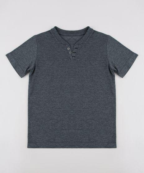 Camiseta-Infantil-com-Botoes-Manga-Curta--Cinza-Mescla-Escuro-9684343-Cinza_Mescla_Escuro_1