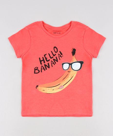 Camiseta-Infantil-com-Estampa-Interativa-de-Banana-Manga-Curta--Coral-9618700-Coral_1