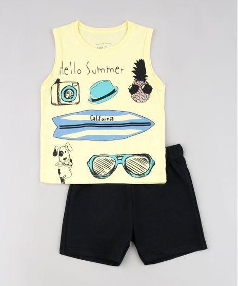 Conjunto-Infantil-de-Regata--Hello-Summer--Amarela---Bermuda-em-Moletom-Preto-9629763-Preto_1