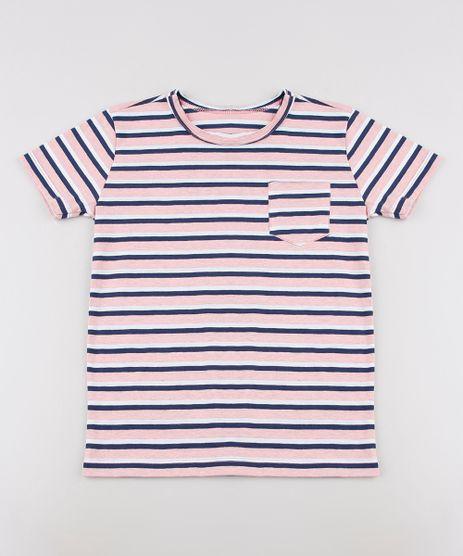 Camiseta-Infantil-Listrada-com-Bolso-Manga-Curta--Rosa-9638629-Rosa_1