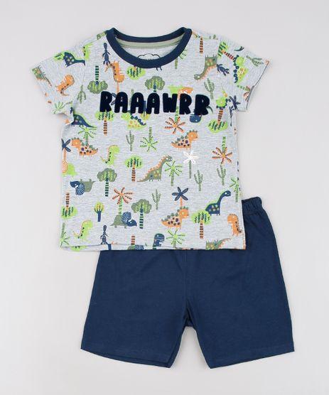 Pijama-Infantil-Estampado-de-Dinossauro-Manga-Curta-Cinza-Mescla-9629799-Cinza_Mescla_1