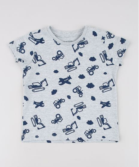 Camiseta-Infantil-Estampada-de-Trator-Manga-Curta--Cinza-Mescla-Claro-9629783-Cinza_Mescla_Claro_1