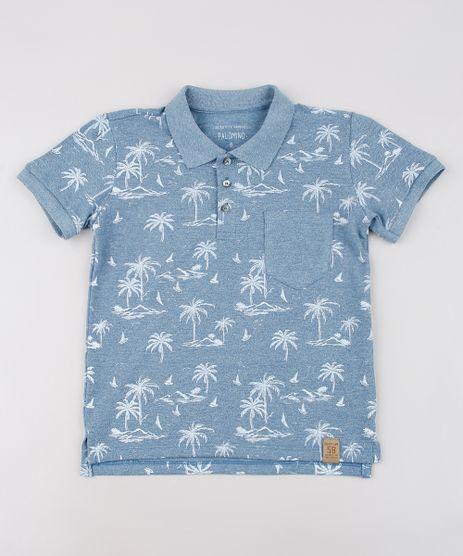 Polo-Infantil-Estampada-Tropical-em-Piquet-com-Bolso-Manga-Curta-Azul-9638628-Azul_1