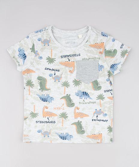 Camiseta-Infantil-Estampada-de-Dinossauros-com-Bolso-Manga-Curta--Cinza-Mescla-Claro-9618748-Cinza_Mescla_Claro_1