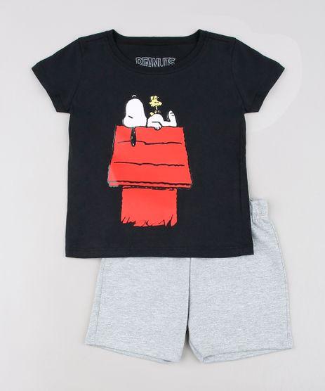 Conjunto-Infantil-Snoopy-de-Camiseta-Manga-Curta-Preta---Bermuda-em-Moletom-Cinza-Mescla-9629765-Cinza_Mescla_1